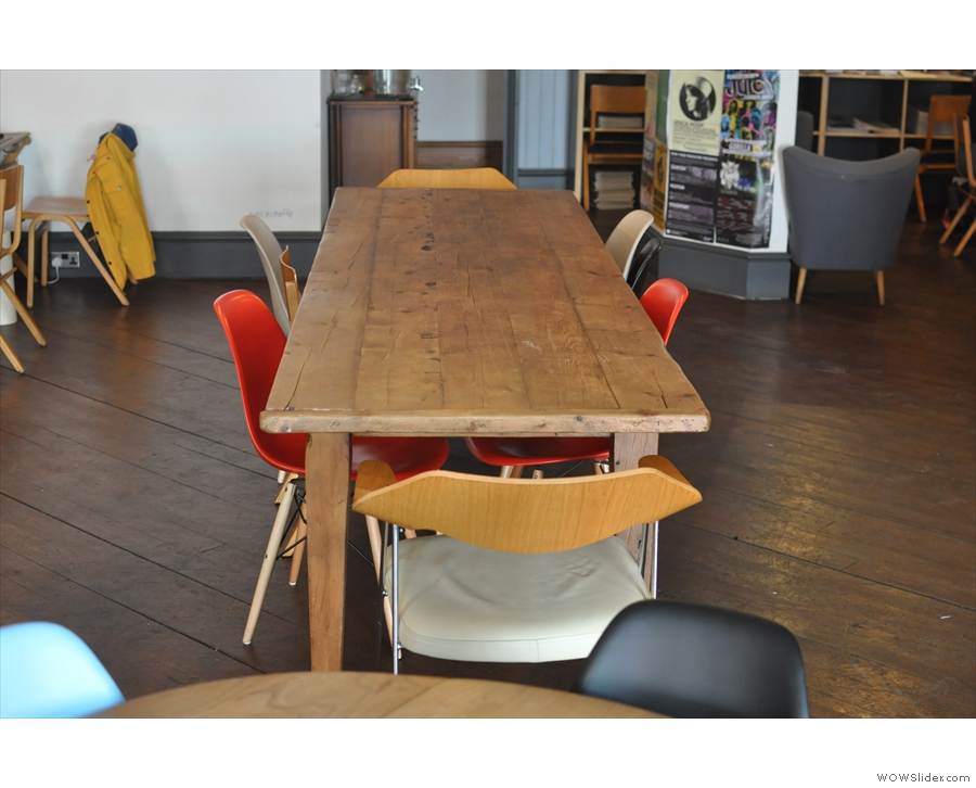 Communal tables are all the rage at TAKK, such as this beauty in the centre of the room.