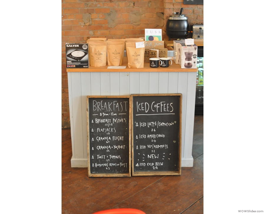 There's also an iced coffee menu (plus breakfast) by the retail counter.
