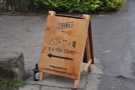The first indication that something is up: Peña's A-board at the end of Eton Lane.