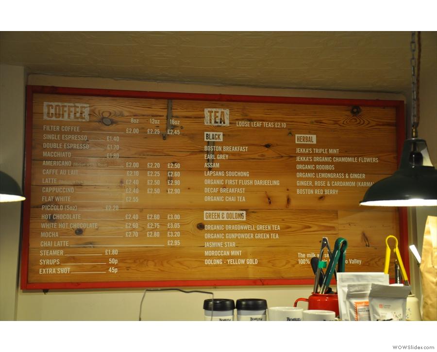 The Boston Tea Party hot drinks menu.