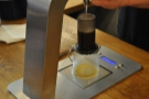 This ensures that the water is spread around the Aeropress.