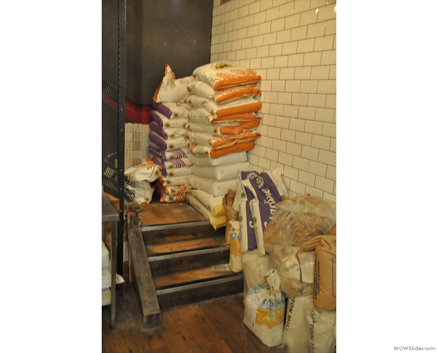 The stairs are also still being used to store the flour.
