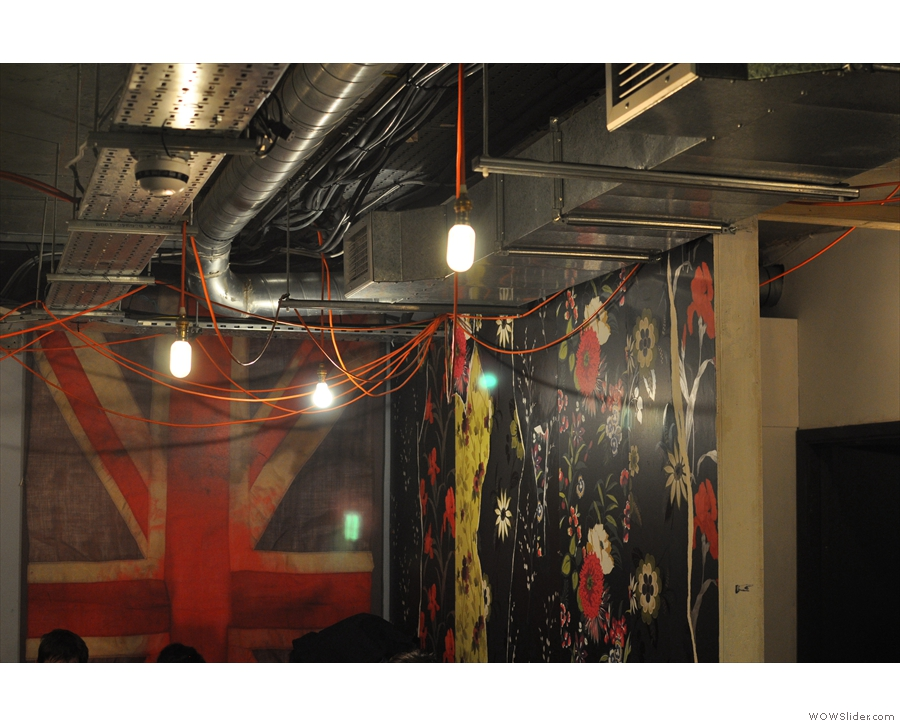 Typical decor from the basement, although the Union Jack's now gone.