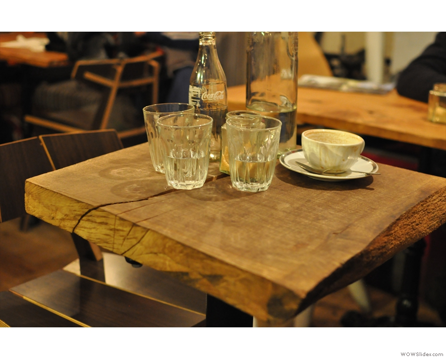 Mst of the tables are like this, solid wood and various (square) sizes.