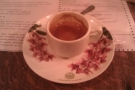 My espresso. Although mismatching, my cup and saucer went well together.