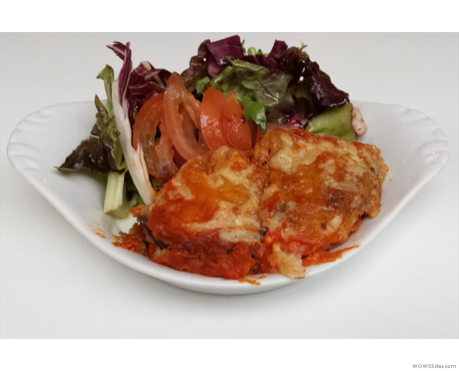 ... and my excellent parmigiana with side-salad.
