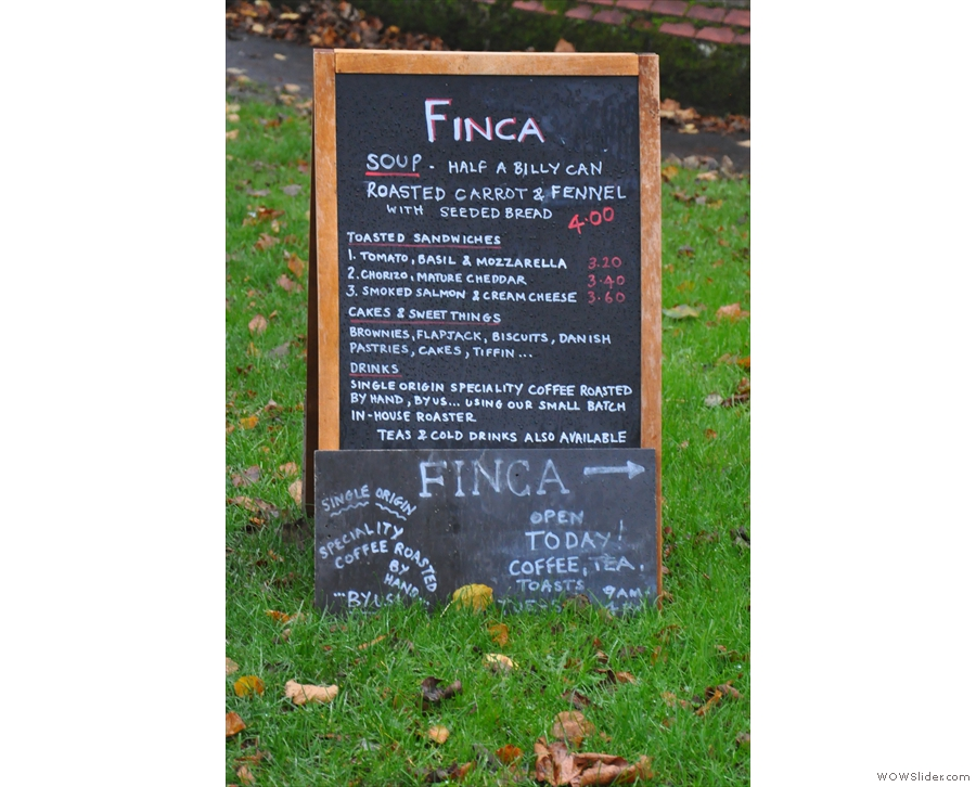 Finca attracts your attention before you even get there with this A-board across the road.