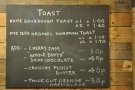 ... and the dedicated toast menu. You have to love a place with a separate toast menu!