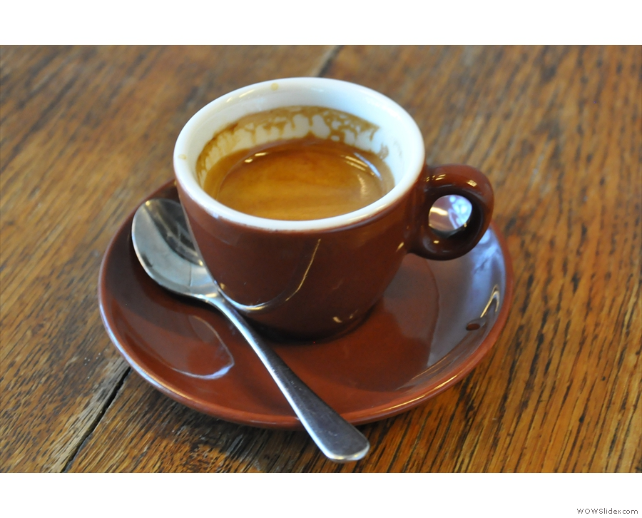 ... and here it is, an espresso in a beautiful cup.