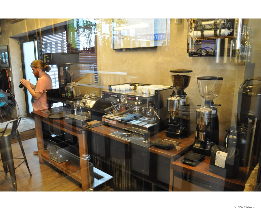 You can sit there and look through the window at the training/cupping area.