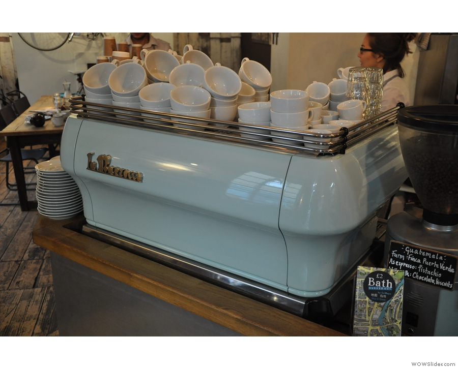 ... with its powder-blue La Marzocco.