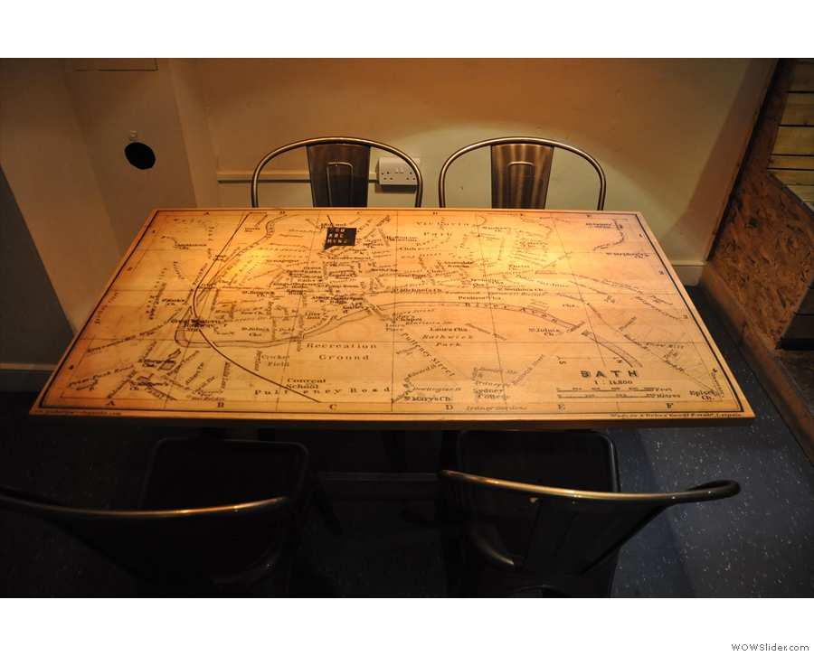 I was particularly taken with this table with it's old map of Bath.