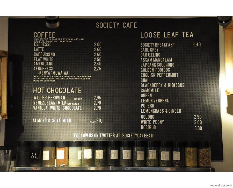 The coffee menu, with the impressive selection of tea.