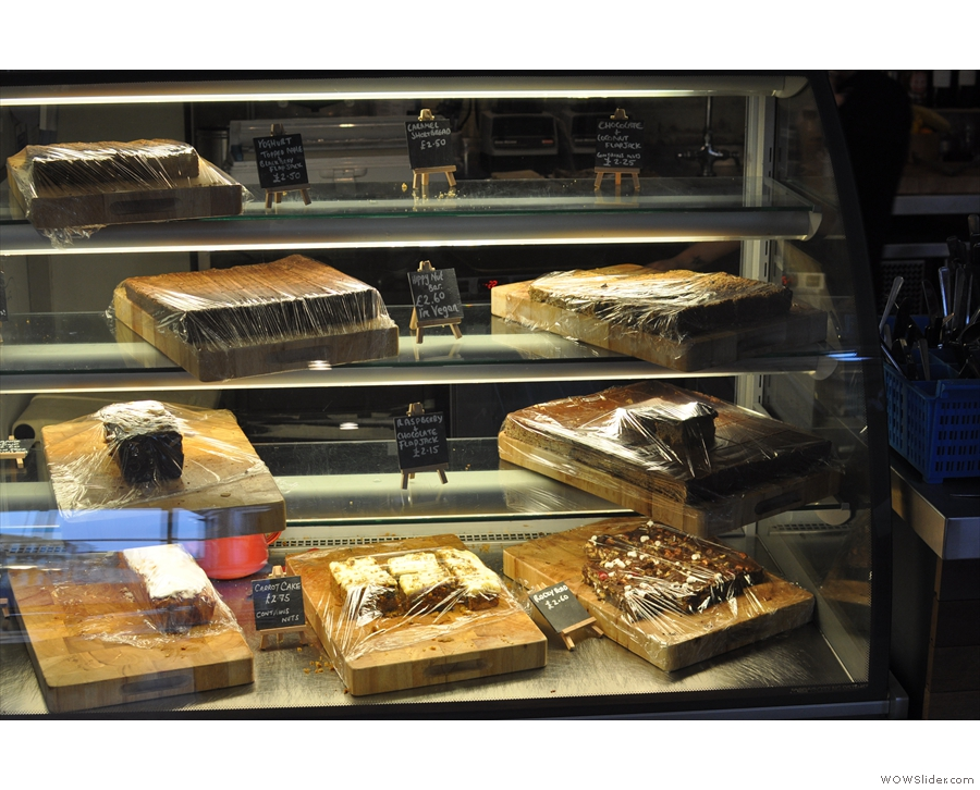 A somewhat depleted cake cabinet (well, it was closing time).