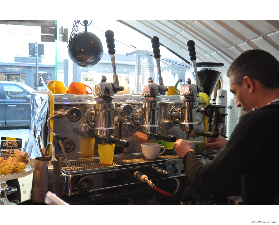 However, to business. The Gaggia was busy while I was there.