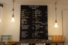 The menu, by the way, hangs above espresso machine on the back wall.