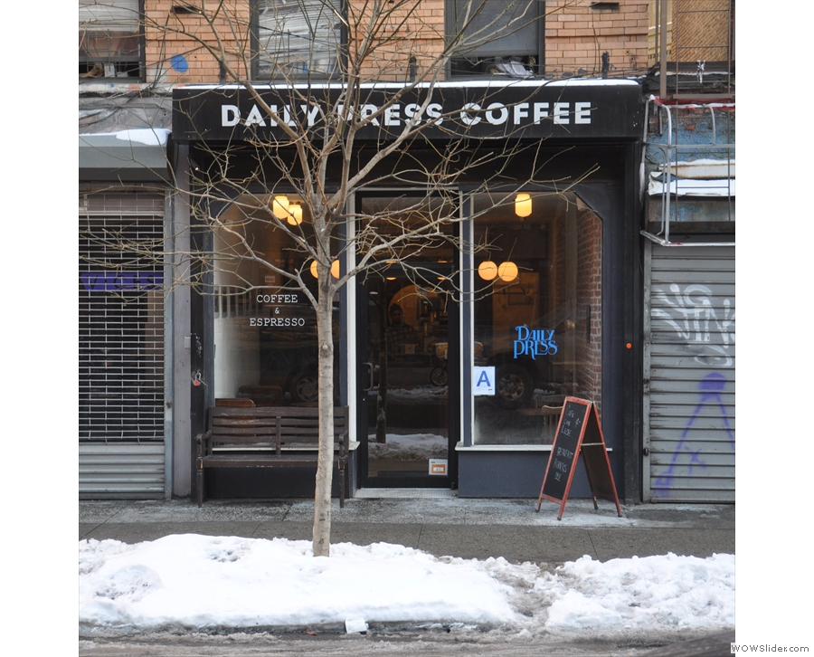 On a snowy Havemeyer Street in Brooklyn, you'll find Daily Press Coffee's second outlet.