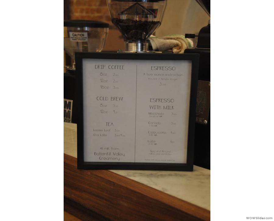 The coffee menu.