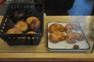 ... wihle the counter has croissants and bagels.