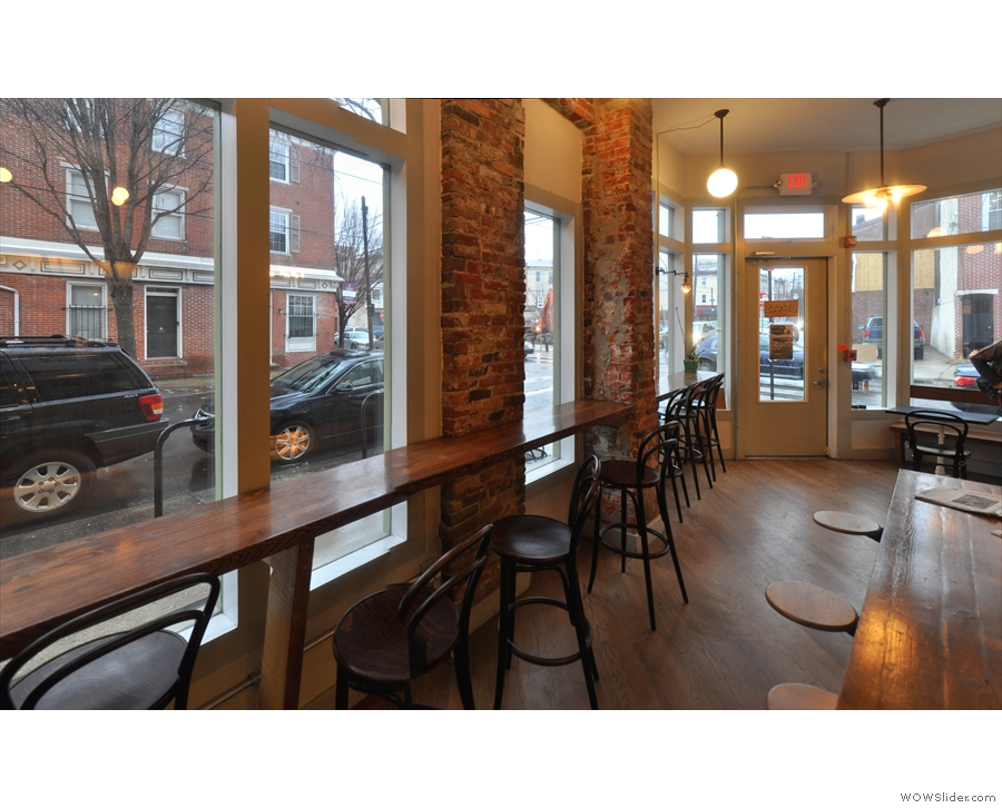 The seating in more detail, starting with the window bar on South 6th Street.