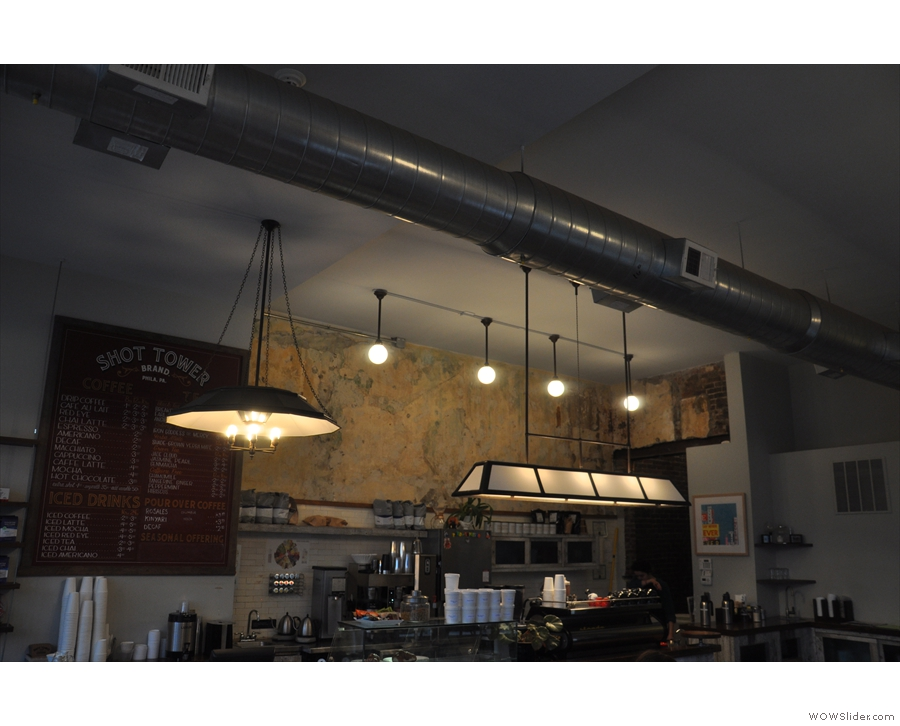 The lighting about the counter/espresso machine...
