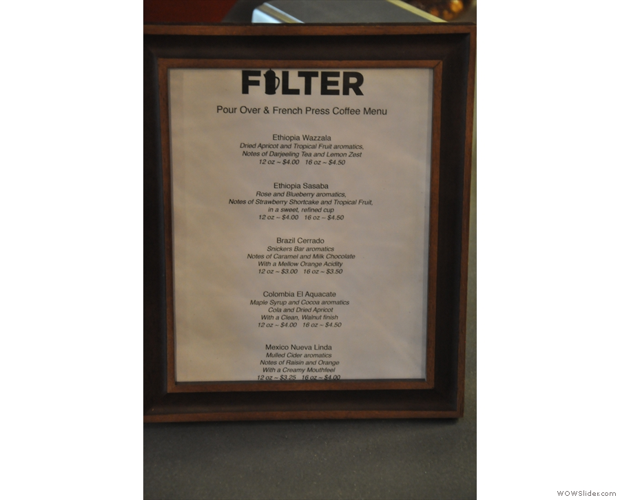 Filter has an impressive array of filter coffees to choose from...