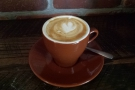 I started off with a flat white in a classic tulip cup...