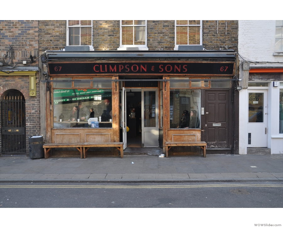 Climpson and Sons Café at the London Fields end of Broadway Market.
