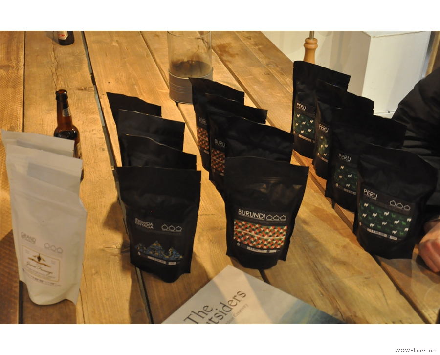 Some of the output from Brighton's Small Batch, including beans from Peru & Colombia.