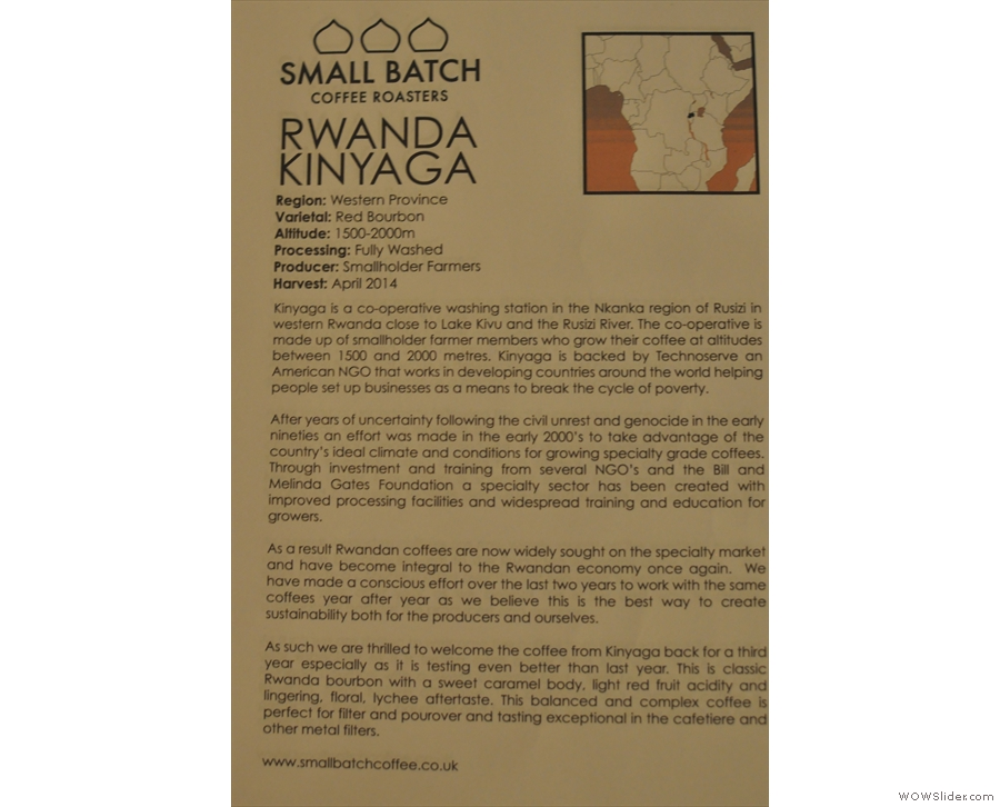 Small Batch provides extensive notes on all its coffee: here the Kinyaga...