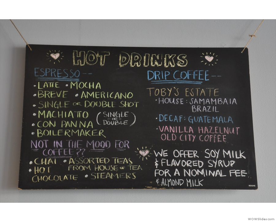 The hot drinks menu is just as revealing...