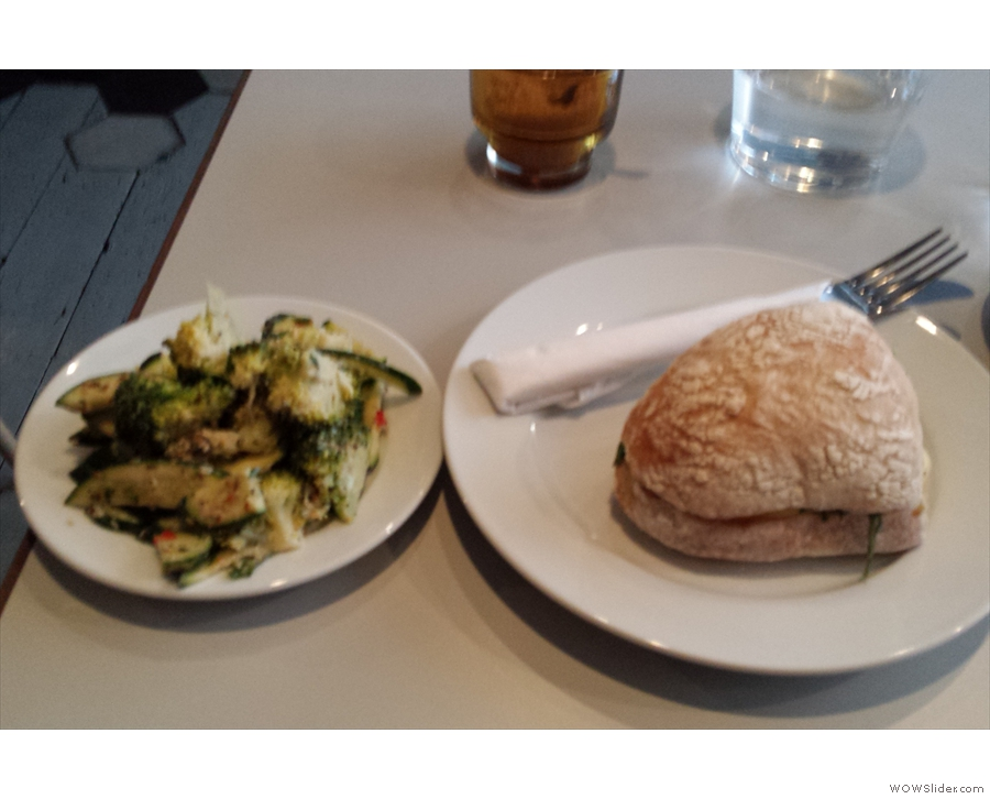 I've also sampled quite a bit of the food menu: here, salad and a roll...