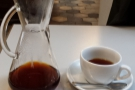 On my last but one visit, I went for a Chemex, beautifully presented and wonderfully tasty.