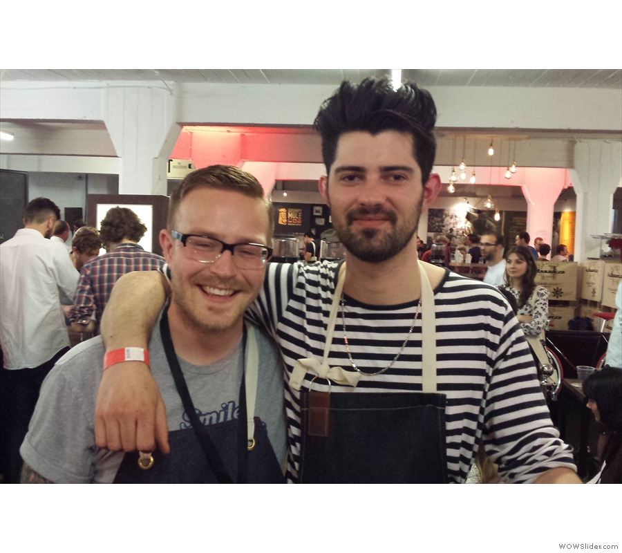That said, without lovely people, coffee is nothing. Two of my favourites from last year, Toby from No. 35 Coffee House in Dorchester, and Eddie from Bath's Round Hill Coffee Roastery.