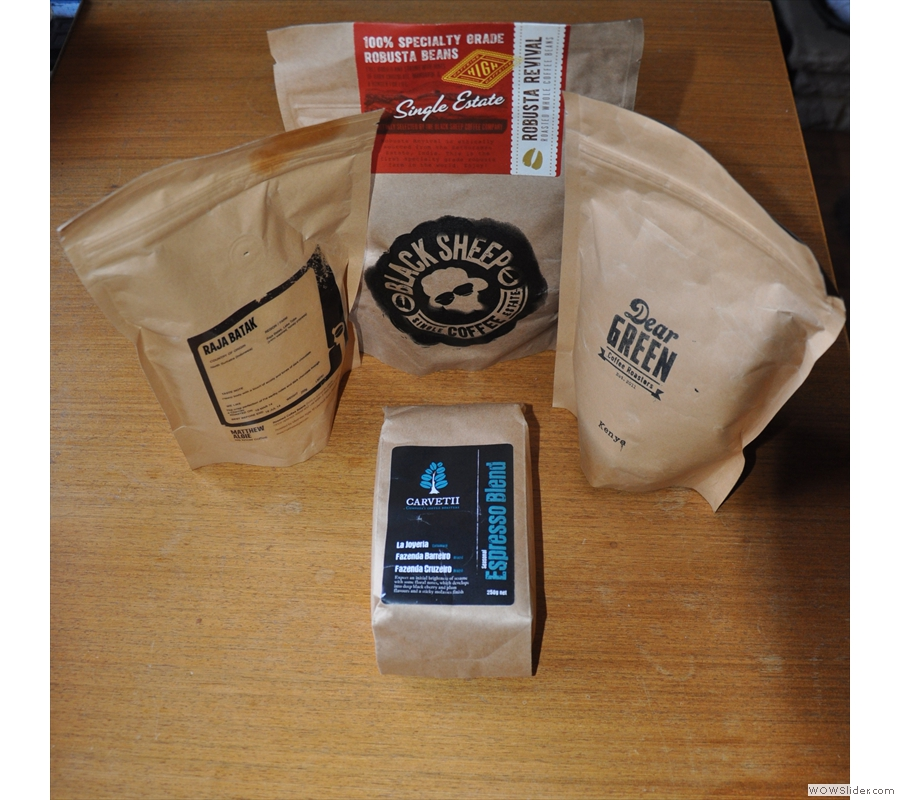 However, it wouldn't be a coffee festival without some coffee. Here's the haul I brought back with me. With thanks to Matthew Algie, Black Sheep, Dear Green & Carvetii.