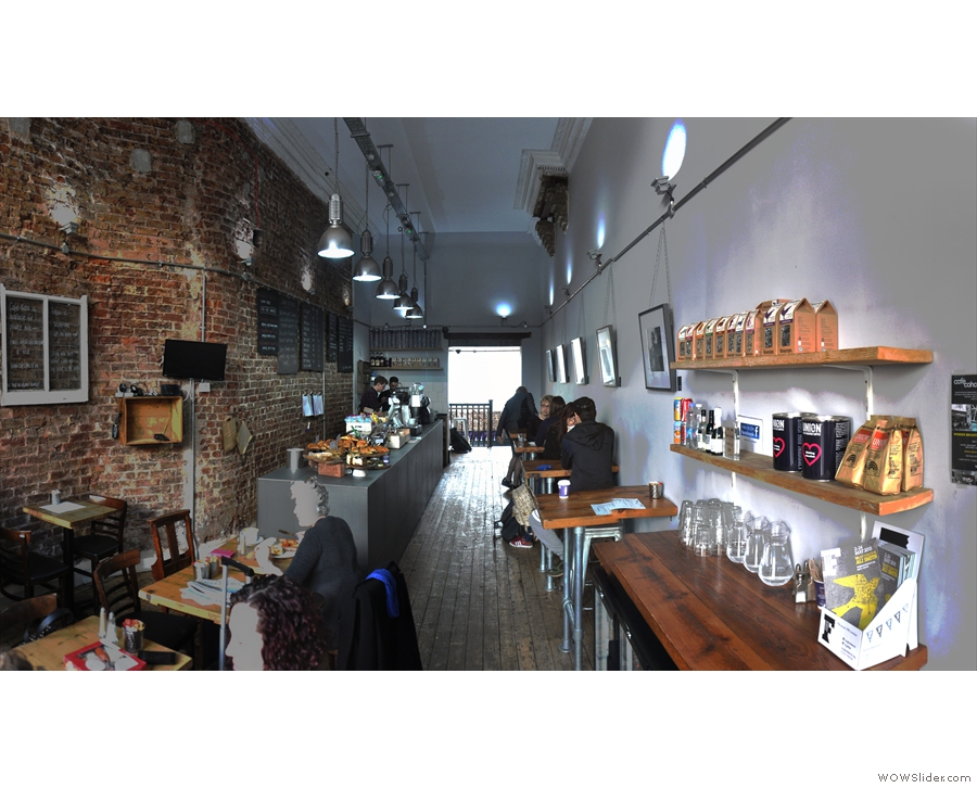 The view from just inside the door, looking down the length of Cafe Coho...
