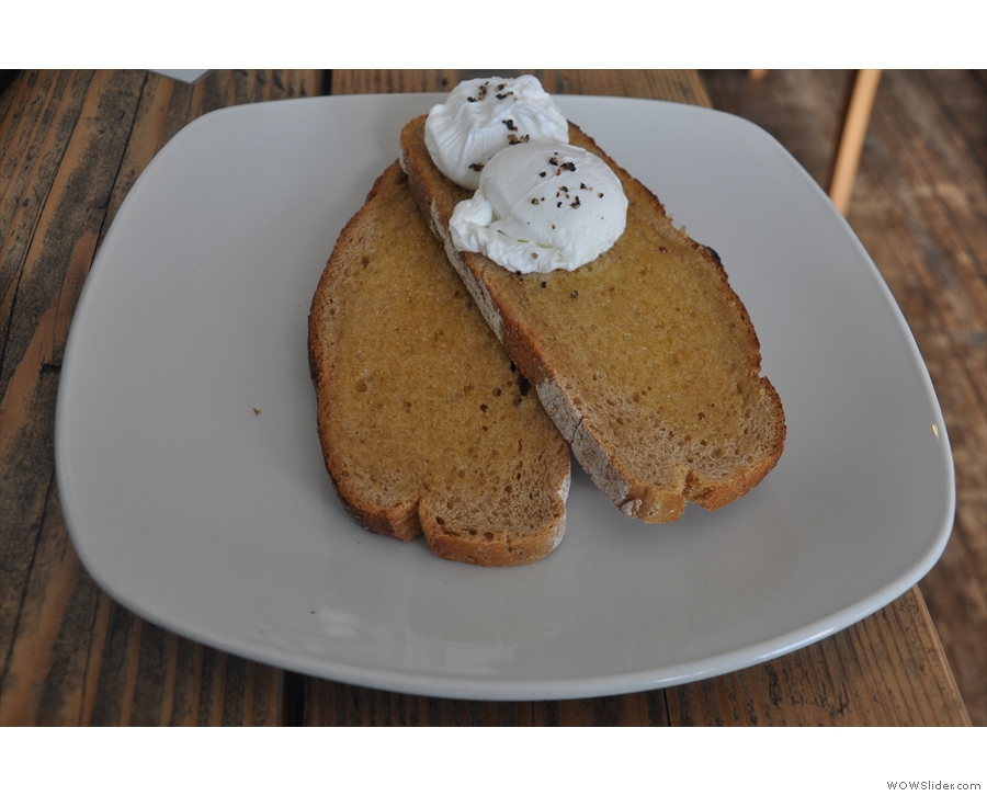 I leave you with my (normal-sized) poached eggs on (enormous slices of) toast.