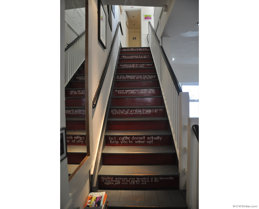 The stairs are the same, but these coffee facts are no longer there.