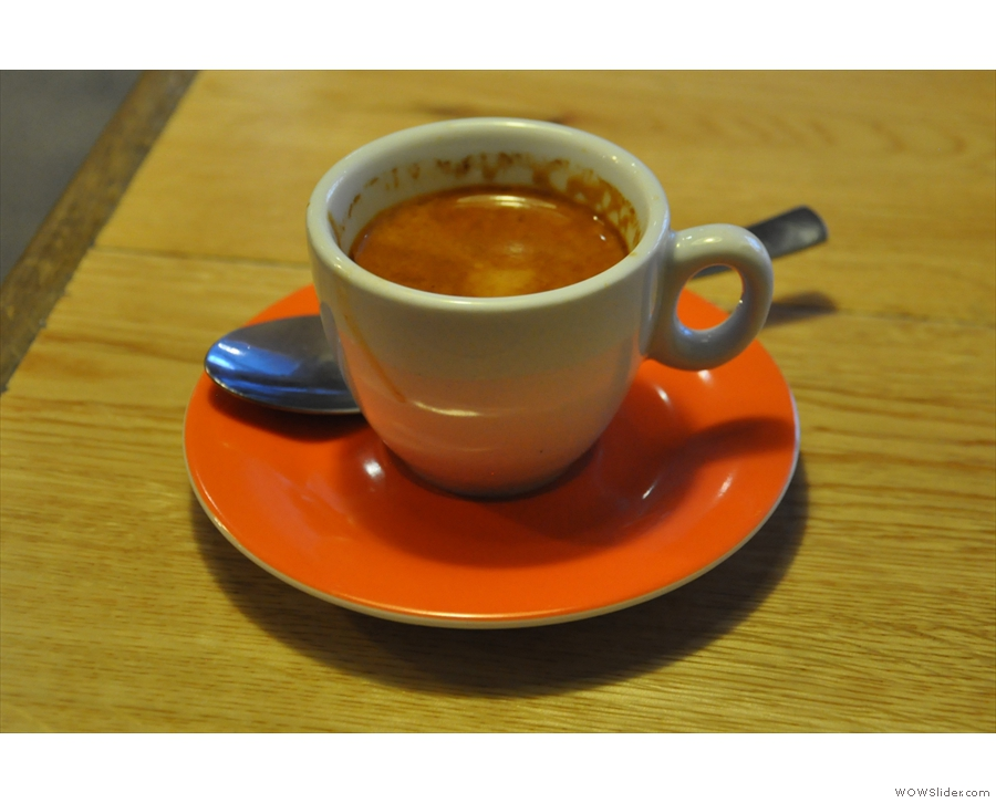 My espresso, the Widescreen from Grumpy Mule.