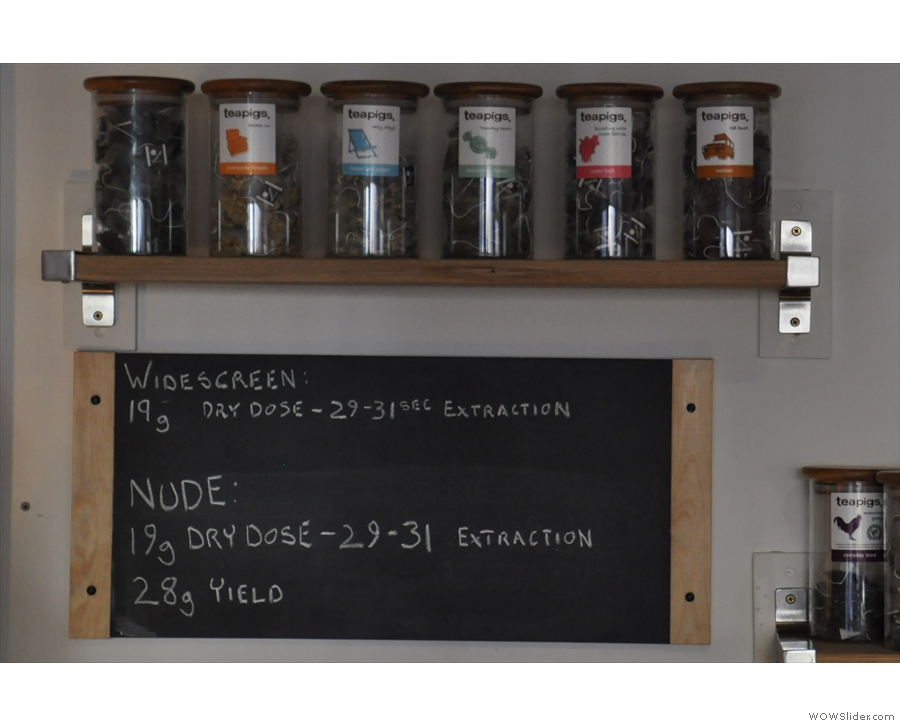You can see Steam Yard's serious about the coffee from the recipes chalked up under the tea.