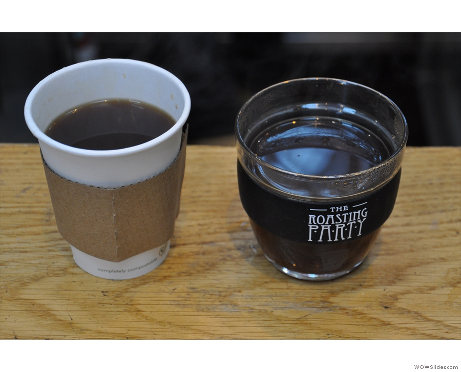 And here we are, two cups of lovely Kenyan Githiga AA.