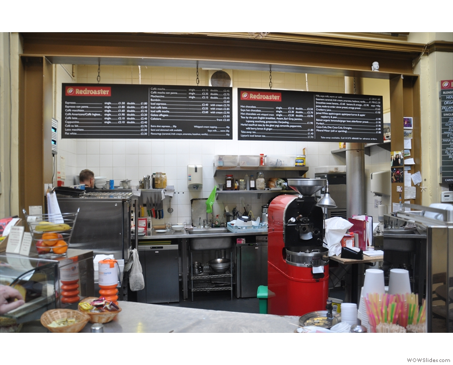 All the food is prepared in the this kitchen behind the counter...