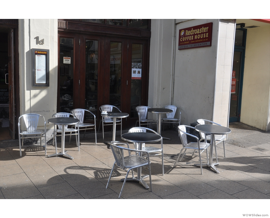 The outside seating is fairly sheltered and in a sunny spot.