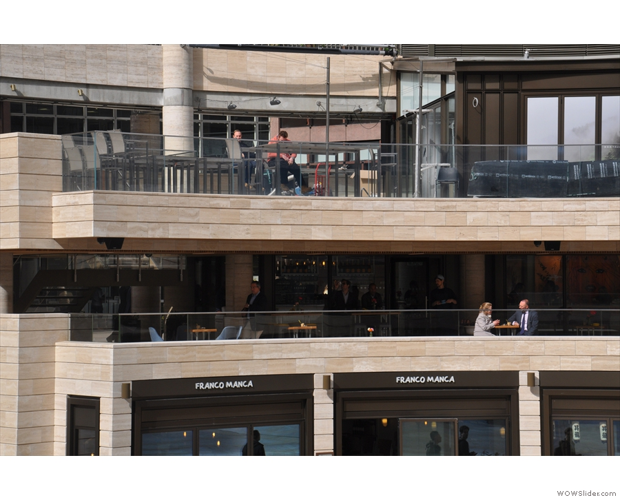 Another view of the Beany Balcony, seen from the other side of Broadgate Circle.