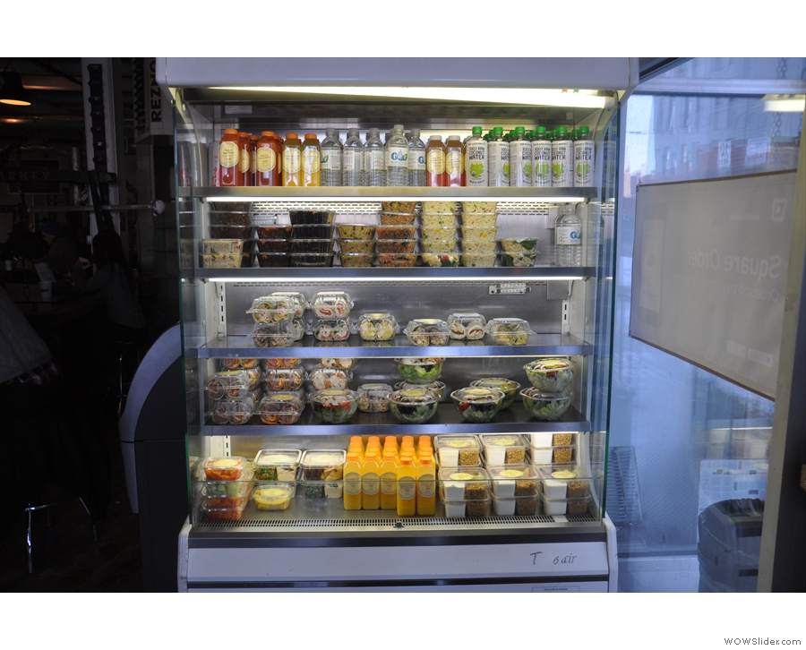 There are soft drinks and salads in a chiller cabinet to your right as you come in...