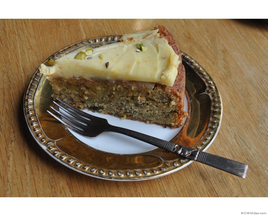 My slice of the orange blossom and pistachio cake with mascarpone icing.