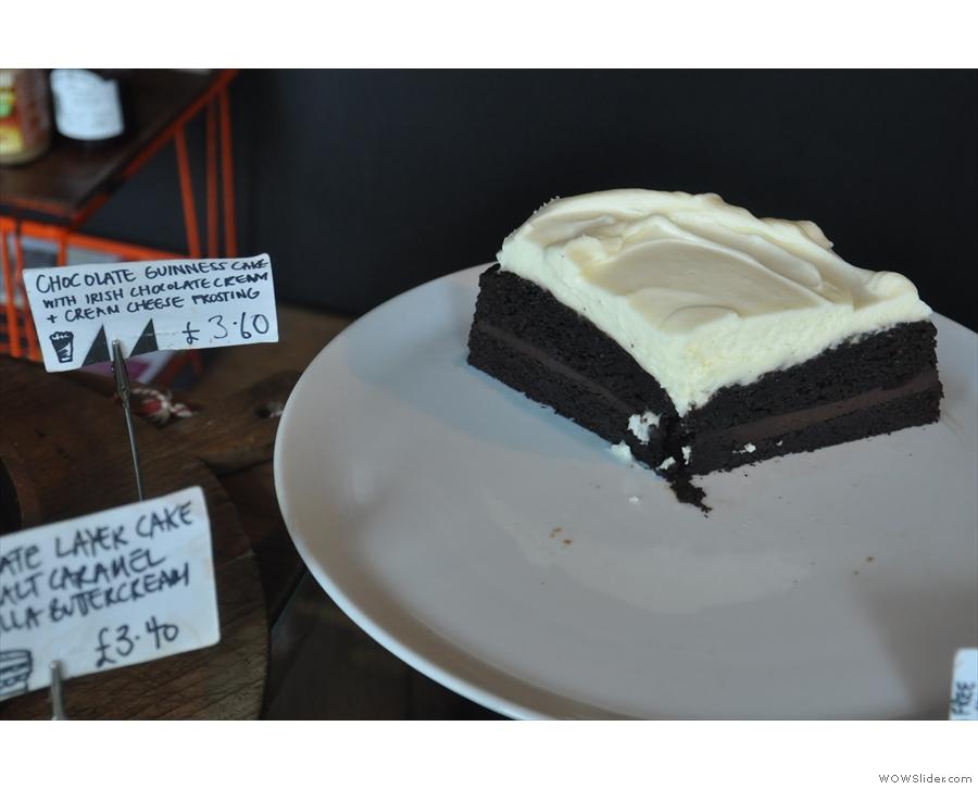 Chocolate Guinness cake with Irish chocolate cream and cream cheese frosting.
