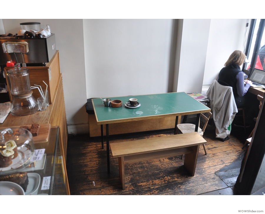 Opposite them is this four-person table...