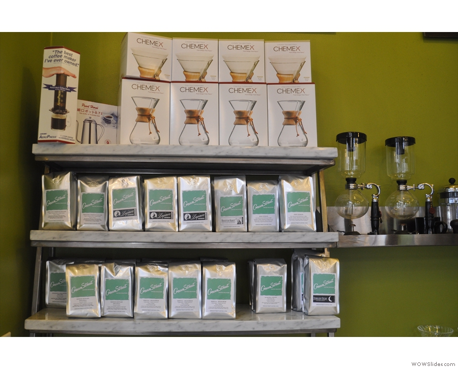 More of Greenstreet's coffee credentials: beans and kit for sale on a shelf on the back wall.