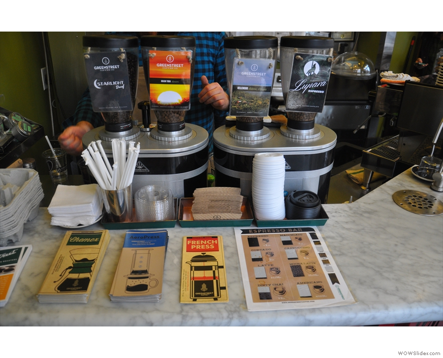 Meanwhile, Greenstreet's coffee credentials are laid out for all to see on the counter...